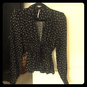 Free people smocked low cut blouse